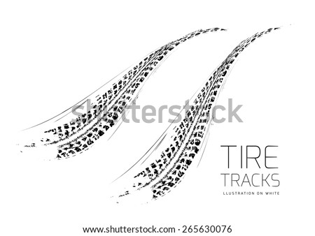 Tire tracks background - stock vector