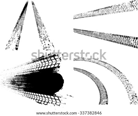 Tire Tracks . Dirty Grunge Tire Tracks . Vector Print Textured Set . - stock vector