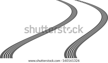tire tracks in a bend - stock vector