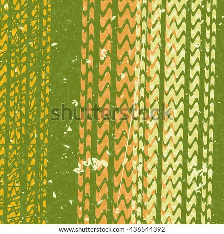 Tire tracks in grunge style. green background. vector illustration - stock vector
