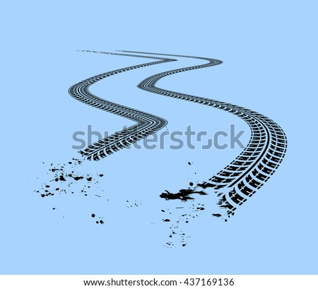 Tire tracks. Vector illustration on blue background - stock vector