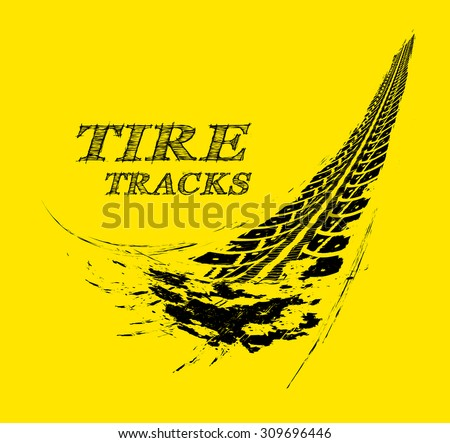 Tire tracks. Vector illustration on yellow background - stock vector