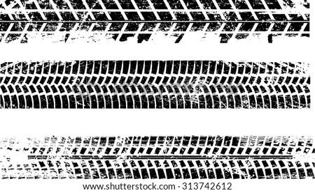 Tire Tracks . Vector Print Textured Set . - stock vector