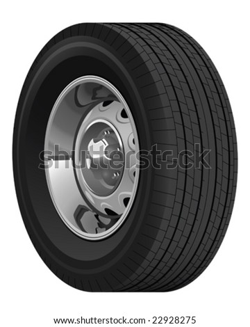 Tire with Vintage Car Rim - stock vector