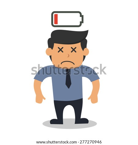 tired business man with low battery power - stock vector