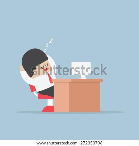 Tired businessman falls asleep at his desk, VECTOR, EPS10 - stock vector