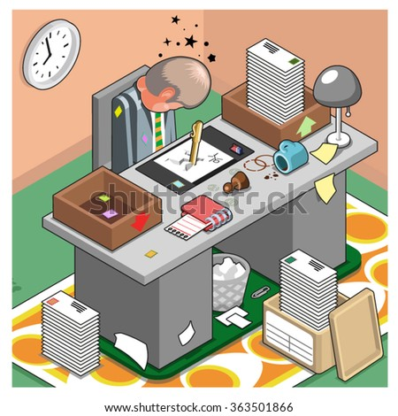 Tired businessman sitting at his desk, asleep after a hard day`s work with many answered letters piled up (isometric illustration) - stock vector
