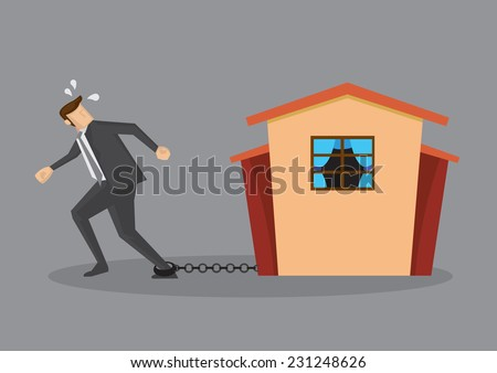 Tired man in business suit chained on ankle and a house at the other end of chain. Conceptual vector illustration for home loan liability isolated on grey plain background.  - stock vector