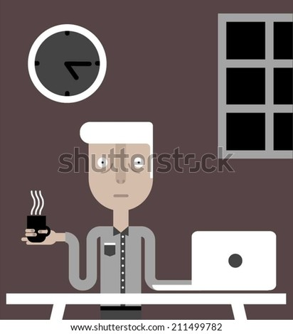 Tired man working at night - stock vector