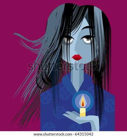 Tired Women with Candle - stock vector