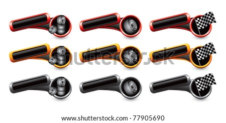 Tires and racing flags on tilted colored banners - stock vector