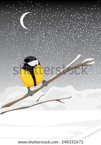 Tit sitting on a snowy branch tree. Vector - stock vector