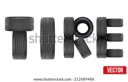 Title of Realistic rubber tires. Top view. Vector Illustration isolated on white background. - stock vector