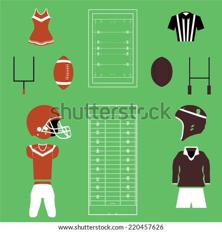 Title: Set of American Football And Rugby Icons and Vectors Description: Set of Many American Football And Rugby Icons and Vectors - stock vector