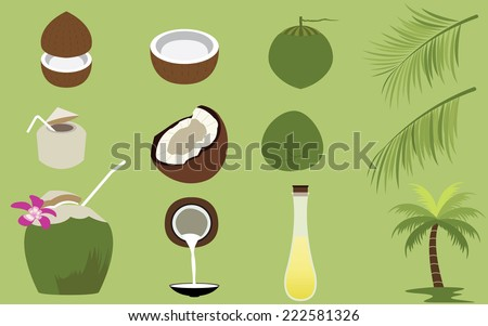 Title: Set of Products of Coconut Tropical Fruit Description: Set of many Products of Coconut Tropical Fruit vectors