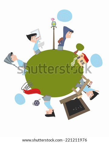 Title: Typical kid's day Description: A typical kid's day in one picture. Brushing teeth, going school, playing and going to sleep. - stock vector