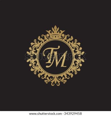 TM Initial Luxury Ornament Monogram Logo Stock-Vektorgrafik ...