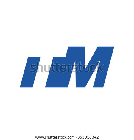 TM negative space letter logo blue