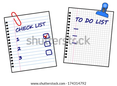 To do list. Check list. Things to do. List items on torn white paper. Vector. vector art image illustration, isolated on white background eps10 - stock vector