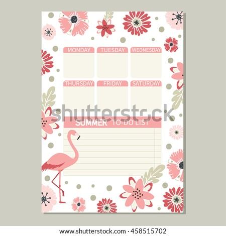 To do list. Cute page for notes. Notebooks,decals, diary, school accessories. Cute romantic vector page with flamingoand flowers.  - stock vector