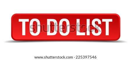 To do list red 3d square button isolated on white - stock vector