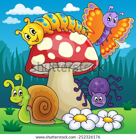 Toadstool with animals on meadow - eps10 vector illustration. - stock vector