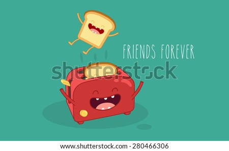 Toaster and funny toasted bread. Vector cartoon. Friends forever. Comic characters. - stock vector