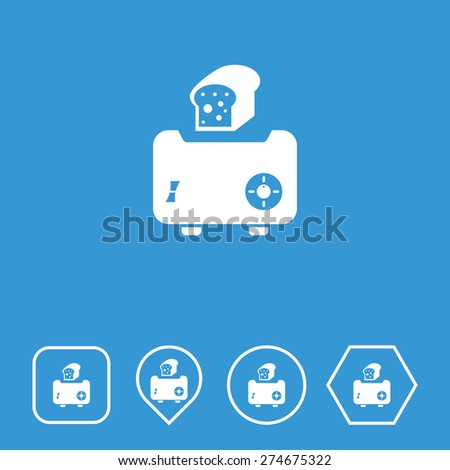Toaster Icon on Flat UI Colors with Different Shapes. Eps-10. - stock vector