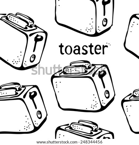 Toaster pattern, kitchen background - stock vector