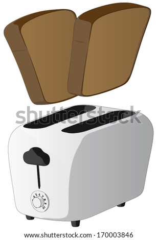Toaster -  Vector Artwork (isolated on white background). - stock vector