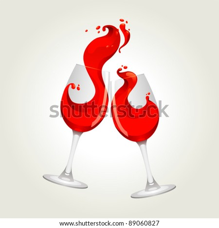 Toasting gesture two red wine glasses with big splash - stock vector
