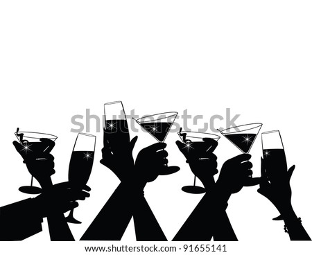 Toasting Silhouette EPS 8, grouped for easy editing.