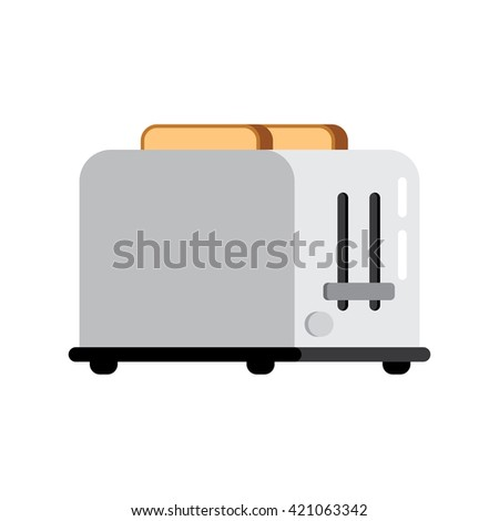 Toasts flying out of toaster isolated on white background. Toaster and bread food breakfast toast. Toaster and bread meal toasted slice appliance. Toaster and bread kitchen healthy brown snack wheat