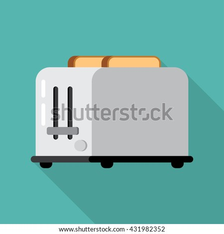 Toasts flying out of toaster isolated on white background. Toaster and bread food breakfast toast. Toaster and bread meal toasted slice appliance. Toaster and bread kitchen healthy brown snack wheat - stock vector