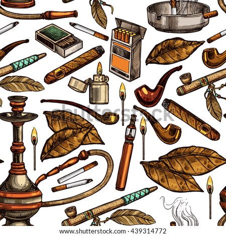 Tobacco And Smoking Sketch Seamless Hand Drawn Colorful Pattern - stock vector