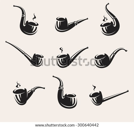 Tobacco pipes set. Vector - stock vector