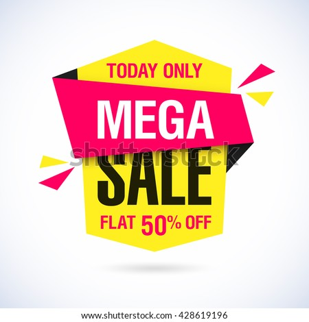Today Only Mega Sale banner. Big super sale, flat 50% off. Vector illustration. - stock vector