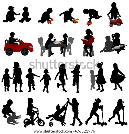 toddlers and kids silhouettes collection - vector