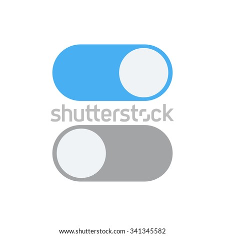 Toggle switch icon, blue in on position, grey in off, vector illustration in flat design. template for mobile applications, web design - stock vector