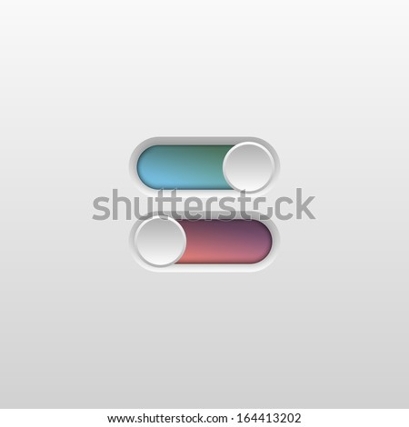 Toggle Switch On and Off position. Vector Illustration - stock vector