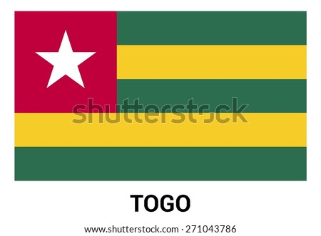 Togo flag isolated vector in official colors and Proportion Correctly. country's name label in bottom - stock vector
