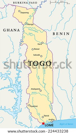 Togo Political Map Capital Lome National Stock Vector 224433238