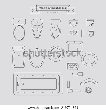 Toilet and Bath Outline Furniture Icon, Top View for Interior Plan, vector - stock vector