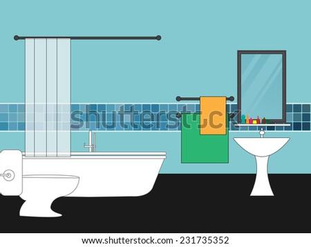 Toilet and bathroom interior - stock vector