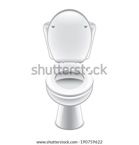 Toilet bowl isolated on white photo-realistic vector illustration - stock vector