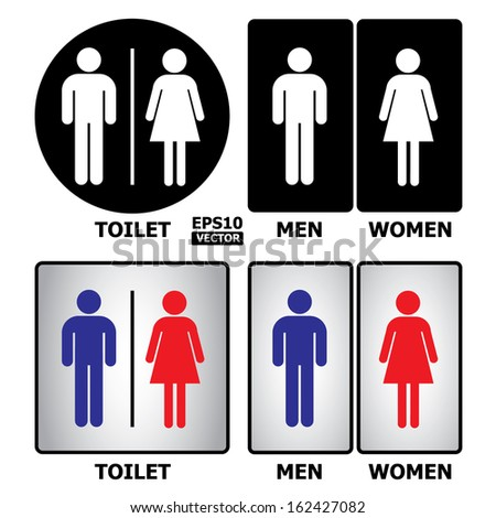 Toilet or restroom sign with text Toilet, Men and Women.-eps10 vector - stock vector