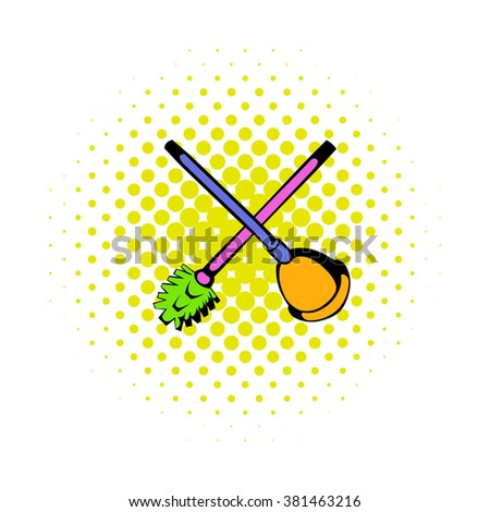 Toilet plunger and brush icon, comics style - stock vector