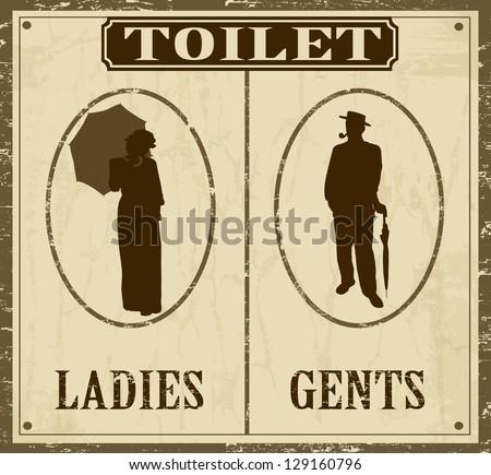 Toilet retro vintage grunge poster, vector illustrator - stock vector