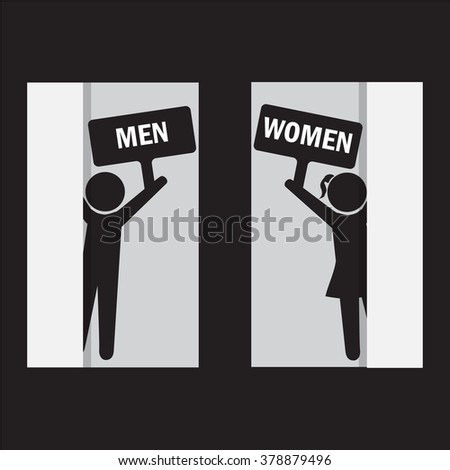 Toilet Sign, Fitting room sign flat icon illustration - stock vector