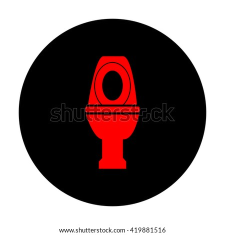 Toilet sign. Red vector icon